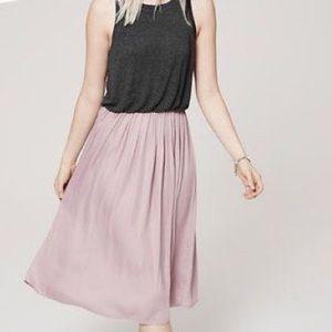 Loft Cotton top and silk bottom midi dress